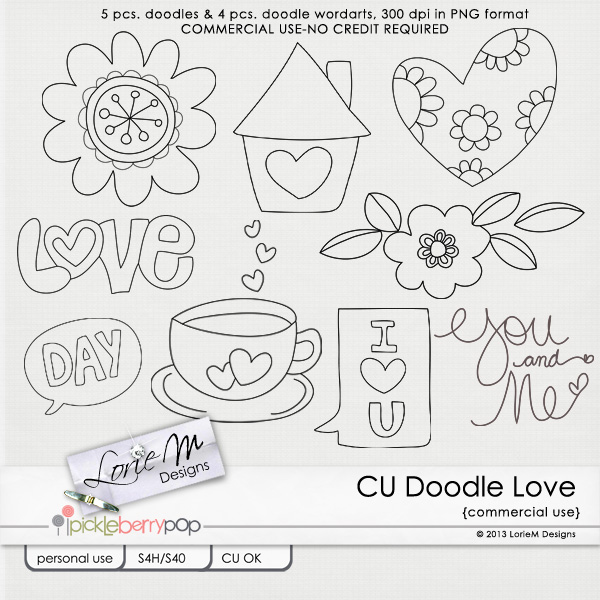 Pickleberrypop :: COMMERCIAL USE (CU) :: CU Doodle Love (Free ...