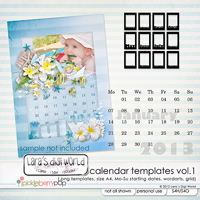 Calendar Templates Vol. 1 size A4 Mo-Su by Lara�s Digi World