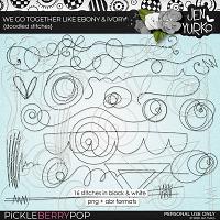 We Go Together Like Ebony & Ivory: Doodled Stitches