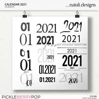 2021 Calendar Numbers