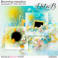 Blooming meadow - templates 01 (PNG, PSD, TIFF)