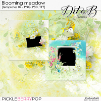 Blooming meadow - templates 04 (PNG, PSD, TIFF)